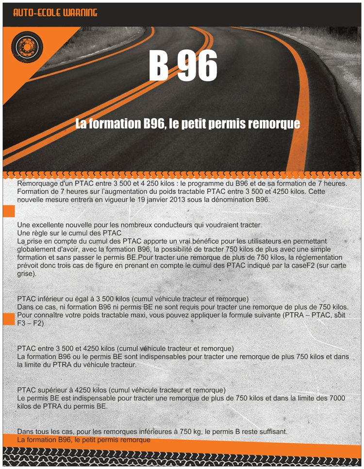 permis remorque b96 tarif promotion 123 remorque. Black Bedroom Furniture Sets. Home Design Ideas